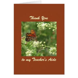 El aprecio del profesor le agradece mariposa de la tarjeta de felicitación