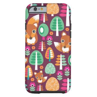 El árbol colorido retro lindo del zorro embroma el funda para iPhone 6 tough