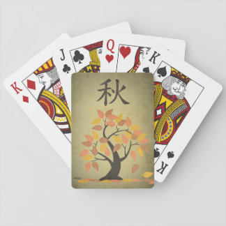 El árbol de la caída del otoño (秋) sale de naipes