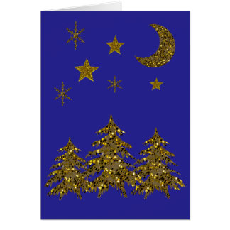 El árbol de navidad brillante, luna, protagoniza tarjeta