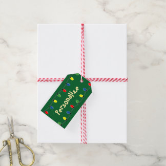 El árbol de navidad colorido enciende etiquetas de etiquetas para regalos