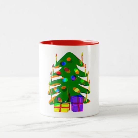el árbol de navidad enciende diseño de la taza del