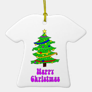 El árbol de navidad feliz del Hippie Adorno De Cerámica En Forma De Camiseta