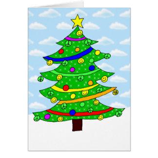 El árbol de navidad feliz del Hippie Tarjeta De Felicitación