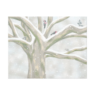 El árbol del pájaro impresión en lienzo