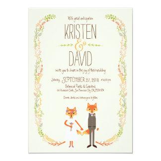 El arbolado caprichoso Foxes el boda de marfil Invitación 12,7 X 17,8 Cm