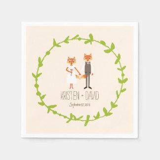El arbolado caprichoso Foxes el boda de marfil Servilleta Desechable
