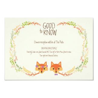 El arbolado caprichoso Foxes la tarjeta de marfil Invitación 8,9 X 12,7 Cm