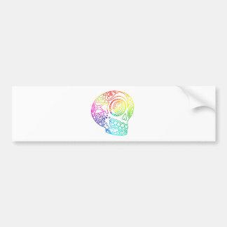 El arco iris alinea el cráneo del azúcar en amor pegatina para coche