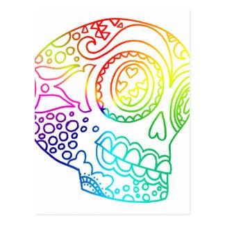 El arco iris alinea el cráneo del azúcar en amor postal
