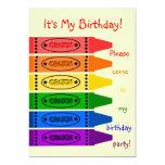 El arco iris colorea a la fiesta de cumpleaños de invitación 12,7 x 17,8 cm