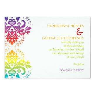 El arco iris colorea el boda del damasco invitación 12,7 x 17,8 cm