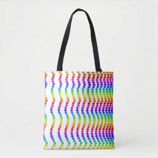 El arco iris colorea la diversión vibrante de los bolso de tela