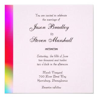 El arco iris colorea la invitación gay del boda