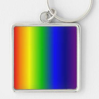 El arco iris colorea llavero cuadrado superior