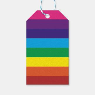 El arco iris colorido intrépido raya el modelo etiquetas para regalos