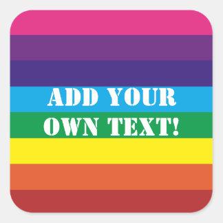 El arco iris de encargo del texto raya al pegatina