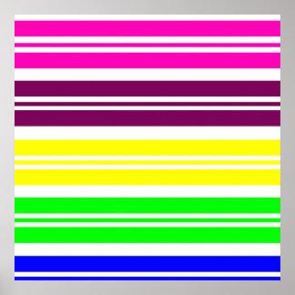 El arco iris de neón colorido raya el modelo póster