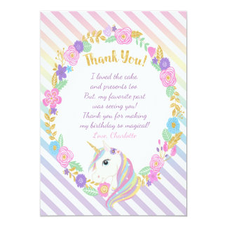 El arco iris del unicornio le agradece las invitación 12,7 x 17,8 cm
