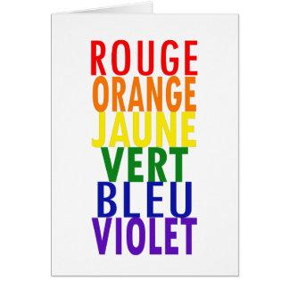 El arco iris francés colorea la tarjeta