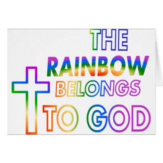 El arco iris pertenece a dios tarjeta de felicitación