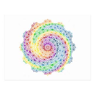 El arco iris remolinó diseño de la mandala postal