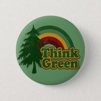 El arco iris retro 70s, piensa verde chapa redonda de 5 cm
