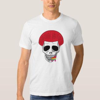 El arco iris rojo cortado seta sonriente B del Camiseta