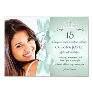 El arco y la tiara de plata Quinceanera del Invitación 12,7 X 17,8 Cm