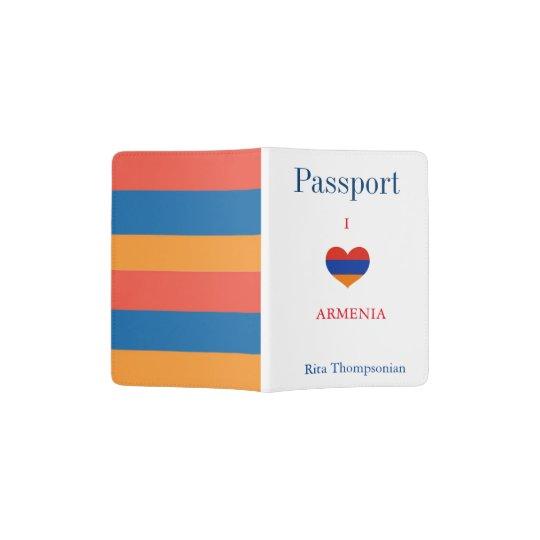 El armenio colorea el tenedor del pasaporte del | portapasaportes
