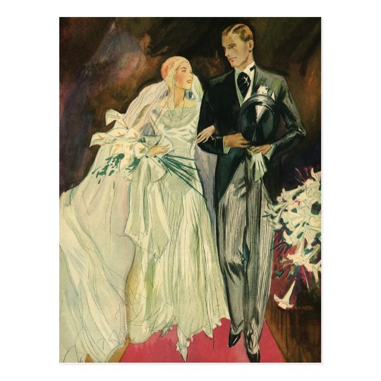 El art déco que se casa, recienes casados del postal