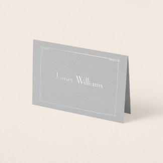 El art déco real del efecto metalizado de plata tarjeta con relieve metalizado