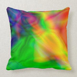 El arte abstracto colorea la almohada verde, roja
