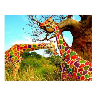 El arte aumentó jirafas postal