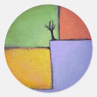 El arte colorido todo del árbol desnudo sazona la pegatina redonda