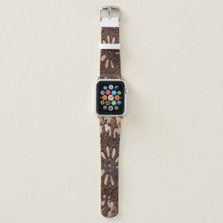 El arte de acero Apple mira la banda de cuero