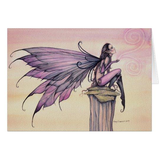 El arte de hadas púrpura de la acuarela de la tarjeta de felicitación