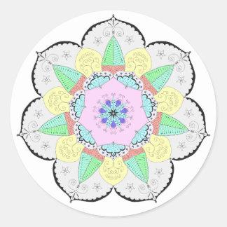 El arte de la mandala modela al pegatina floral de