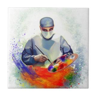 El arte de la medicina azulejo cuadrado pequeño