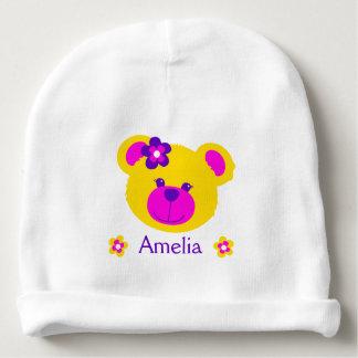 El arte del amarillo del rosa del oso de peluche gorrito para bebe