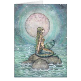 El arte en colores pastel de la sirena de la tarjeta de felicitación