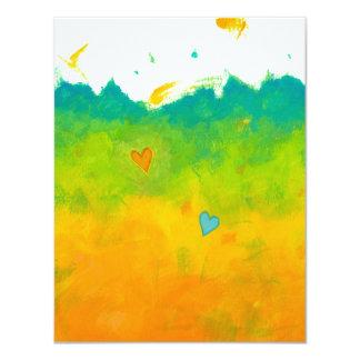 El arte moderno caprichoso único del amor del invitación 10,8 x 13,9 cm