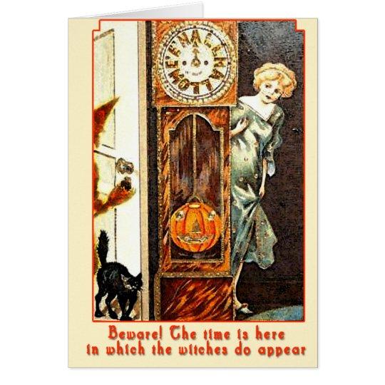 El arte Witching de Halloween del vintage de la Tarjeta De Felicitación