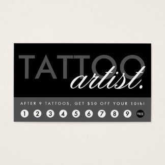 el artista del tatuaje recompensa programa tarjeta de negocios