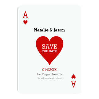El as de corazones ahorra la invitación del boda invitación 12,7 x 17,8 cm