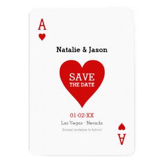 El as de corazones ahorra la invitación del boda