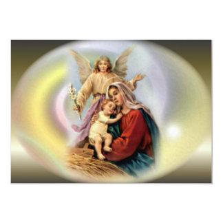 El aspecto de ángeles y del Virgen María bendecido Invitación 12,7 X 17,8 Cm