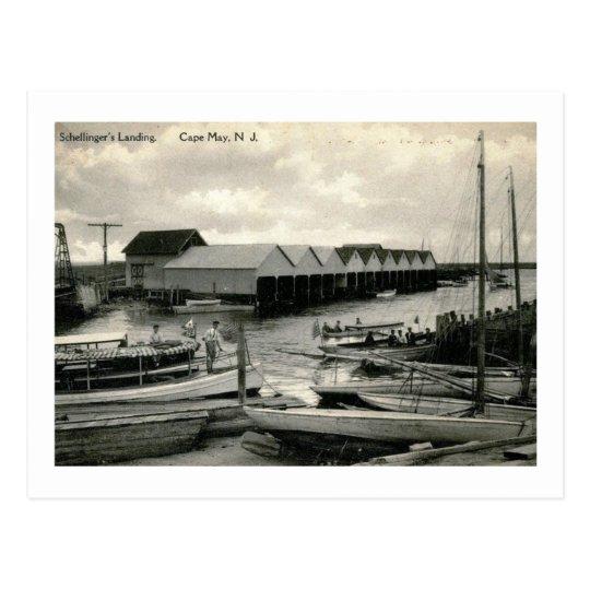 El aterrizaje de Schellinger, Cape May, vintage de Postal
