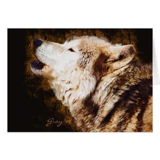 El aullar del lobo gris tarjeta