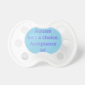 El autismo no es un bien escogido (azul) chupete